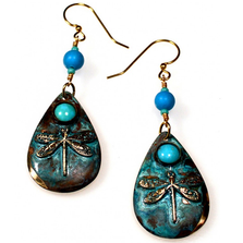 Dragonfly Teardrop Verdigris Brass Wire Earrings | Elaine Coyne Jewelry | ECGNAP16ETU