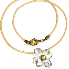 Dogwood Flower Pendant Rawhide Necklace | Elaine Coyne Jewelry | NCW8406PDLECI