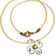 Dogwood Flower Pendant Rawhide Necklace | Elaine Coyne Jewelry | NCW8406PDLECI