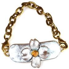 Dogwood Flower Brass Rockband Bracelet | Elaine Coyne Jewelry | ECGNWC84RBCI-5