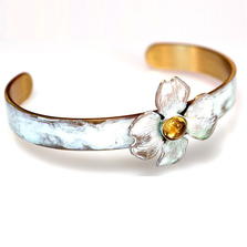 Dogwood Flower White Chocolate Patina Cuff Bracelet | Elaine Coyne Jewelry | ECGNWC41BCCI