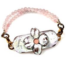 Dogwood Flower Rockband Quartz Beading Bracelet | Elaine Coyne Jewelry | ECGNWC84RD-8