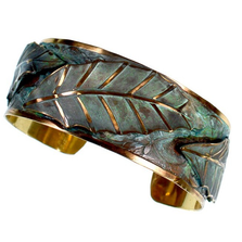 Magnolia Leaves Verdigris Patina Brass Cuff Bracelet | Elaine Coyne Jewelry | ECGLP39BC