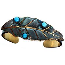 Magnolia Leaf Cuff Bracelet | Elaine Coyne Jewelry | ECGLP36BC