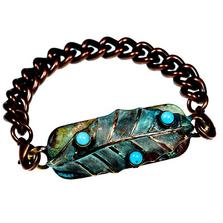 Magnolia Leaf Rockband Verdigris Patina Brass Bracelet | Elaine Coyne Jewelry | ECGLP36RB-10