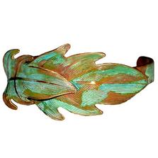 Leaves Verdigris Patina Brass Cuff Bracelet | Elaine Coyne Jewelry | ECGLP405CF