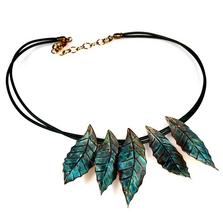 Magnolia Leaves Turquoise Necklace | Elaine Coyne Jewelry | ECGLPN