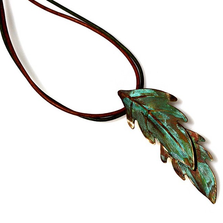 Leaves Verdigris Patina Brass Necklace | Elaine Coyne Jewelry | ECGLP405PD