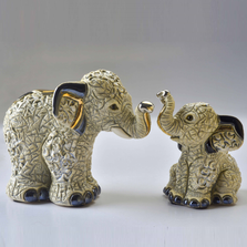 Indian Elephant Family Ceramic Figurine Set of 2 | De Rosa | F219-F419