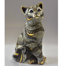Blue Striped Cat Ceramic Figurine | De Rosa | 1035B