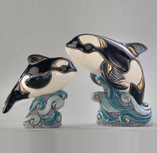 Orca Family Ceramic Figurine Set of 2 | De Rosa | F139-F339