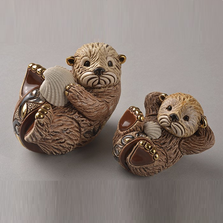 Otter Family Ceramic Figurine Set of 2 | De Rosa | F177-F377