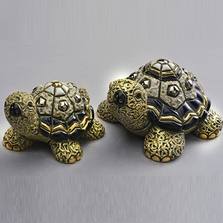 Green Turtle Family Ceramic Figurine Set of 2 | De Rosa | F179-F379