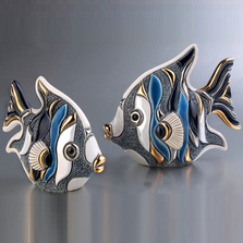 Blue Angelfish Family Ceramic Figurine Set of 2 | De Rosa | F153-F353