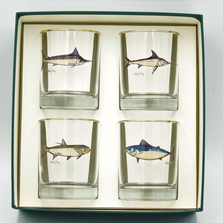 Game Fish Double Old Fashioned Glass Set | Richard Bishop | 2026GF