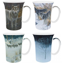 Wolf Bone China Mug Set of 4 | McIntosh Trading Loon Mug | Robert Bateman Wolf Mug Set