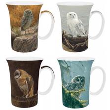 Owl Bone China Mug Set of 4 | McIntosh Trading Owl Mug | Robert Bateman Owl Mug Set