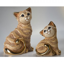 Ginger Cat Family Ceramic Figurine Set of 2 | De Rosa | F183-F383