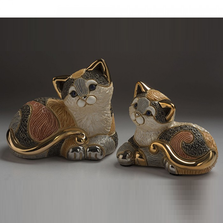 Calico Cat Family Ceramic Figurine Set of 2 | De Rosa | F183-F383