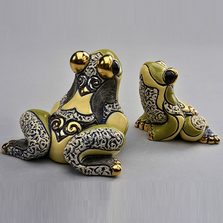 Jumping Frog Family Ceramic Figurine Set of 2  | De Rosa | F178-F378