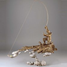 "Fisherman Bronze Sculpture ""Rivers's Edge"" 
