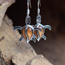 Sea Turtle Sterling Silver and Koa Wood Earrings   Nature Jewelry   CTD-E25