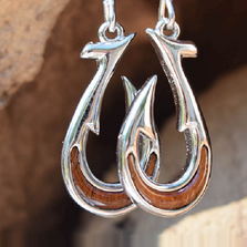 Fish Hook Sterling Silver and Koa Wood Earrings | Nature Jewelry | CTD-E23
