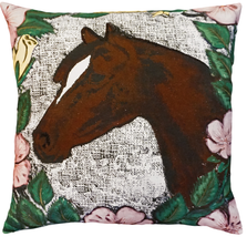 Horse and Roses Printed  Down Throw Pillow | Michaelian Home | MICNPE045SD