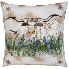 Bud Longhorn  Printed Down Throw Pillow | Michaelian Home | MICNPE050SD