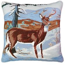 Winter Deer Needlepoint Down Pillow | Michaelian Home | MICNCU958SD