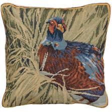 Hiding Pheasant Needlepoint Down Throw Pillow   Michaelian Home   MICNCU956SD