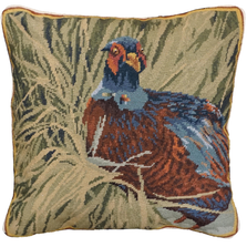 Hiding Pheasant Needlepoint Down Throw Pillow | Michaelian Home | MICNCU956SD