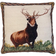 Proud Elk Needlepoint Down Throw Pillow | Michaelian Home | MICNCU957SD