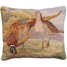 Two Pheasants Needlepoint Down Throw Pillow | Michaelian Home | MICNCU953SD