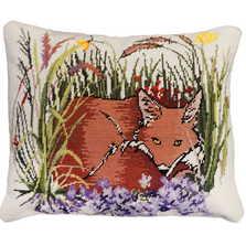 Fox and Violets Needlepoint Down Throw Pillow | Michaelian Home | MICNCU954SD