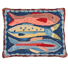 Swimming Fish  Hooked Down Throw Pillow | Michaelian Home | MICNCU795SD