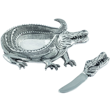 Safari Alligator Aluminum Dip Dish With Spreader | Star Home | 42111