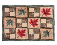 "Maple Leaf Wool Hooked Rug ""Vermont"" 