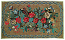 "Bouquet of Flowers Wool Hooked Rug ""Skyland""  | Michaelian Home | MICH595"
