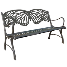 Butterfly Cast Iron Garden Bench | Painted Sky | PB-BFY-100BR