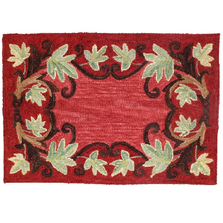 """Leaf Wool Hooked Rug """"Cashiers"""" 
