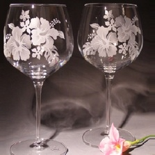 Hibiscus Etched Crystal 18 oz Wine Glass Set of 2 | Evergreen Crystal