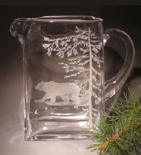 Grizzly Bear Etched Crystal Pitcher | Evergreen Crystal