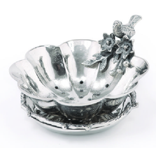 Birds and Branches Aluminum Berry Bowl with Undertray | Star Home Designs | 41607