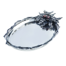 """Bird and Acorn """"Home For The Holidays"""" Aluminum Serving Tray 