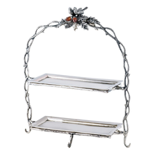 """Bird and Acorn """"Home For The Holidays"""" Aluminum 2 Tier Serving Stand 