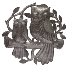 Owls on Branch Recycled Steel Drum Wall Art | Le Primitif