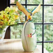 "Macaw Porcelain Vase ""Bright and Spirited"" 