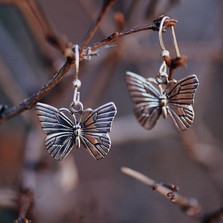 Butterfly Sterling Silver Wire Earrings | Kabana Jewelry | KE329