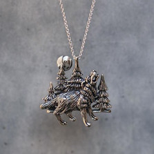 Wolf Moon Sterling Silver Pendant Necklace | Kabana Jewelry | KP326